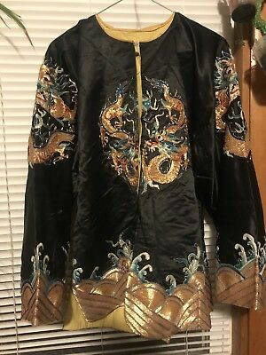 Wow gold flying dragon embroidery black silk robe jacket