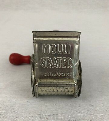 Vintage Mouli Cheese Grater Made In France Hand Crank w/ Red Wooden Handle Gift