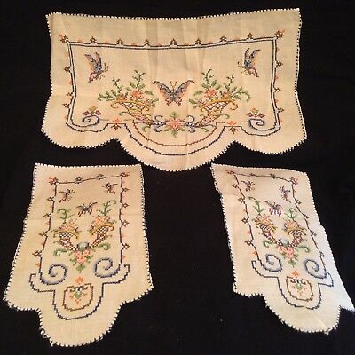 Vintage 3 Piece Embroidered Chair Dresser Scarf And Arm Covers Unused