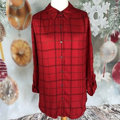 e27ed35beca3c2 Lord Taylor Plaid Button Down Tie Back Shirt Tunic Women XL New NWT $68 Red