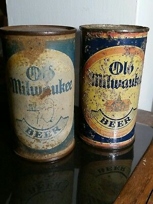 2 old milwaukee flat top beer cans waiter and school house space filler cans