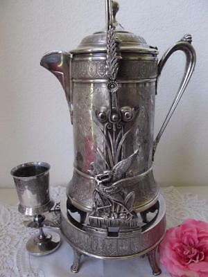 Reed & Barton Tilting Water Pitcher Goblet Victorian Quadruple Silver Aesthetic