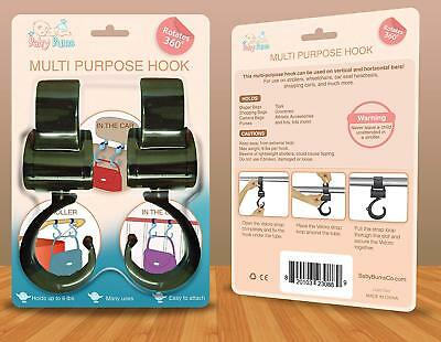 Stroller Hook - 2 Pack of Multi Purpose Hooks - Hanger for Baby Diaper Bags