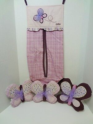 CoCaLo Baby Sugar Plum Padded Hanging Wall Decor Set of 3 & Diaper Stacker