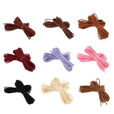 2pcs 5m Leather Cord Soft Thong Lace Flat Rope Thread String Craft 3mm