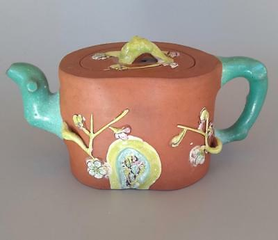 Chinese Yixing Red Clay Pottery Teapot Enamel Seal Mark Prunus Flowers