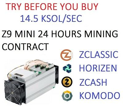 Z9 Mini OC 14.5 KSol/sec Guaranteed 24 Hours Mining Contract Equihash (Zcash)