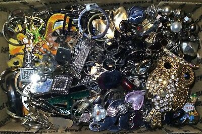 HUGE Lot of KEYCHAINS Vintage - Now Metal Rhinestone Many Shapes Sizes Colors