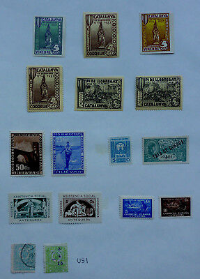 Spanish Civil War Issues 1937 Mint Imperf/perf Unsorted Album Page (Us1)