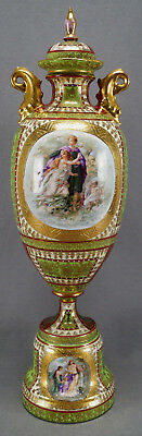 Josef Reidl Royal Vienna Style Green Red & Gold Classical Scene Urn 1890-1910 A