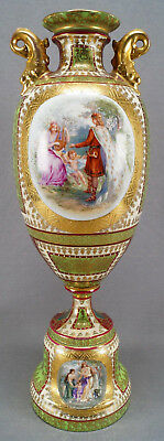 Josef Reidl Royal Vienna Style Green Red & Gold Classical Scene Urn B AS IS