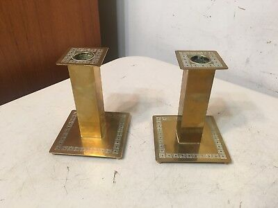 Beautiful Bradley & Hubbard Aesthetic Arts & Crafts Era Brass Candlesticks