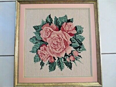 Tapestry Completed  &  Framed Flowers Pink Roses Picture Can Be Hung 4 Ways