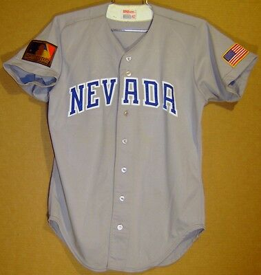 new product 0cef1 86cdb NEVADA WOLFPACK AT RENO GAME WORN Grey ROAD #24 COLLEGE BASEBALL Size 42  JERSEY