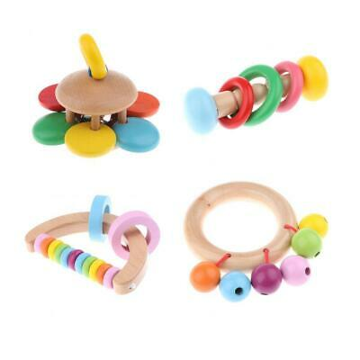 Montessori Style Infant Toy Wooden Baby Rattles Clutching Toys - Pack of 4