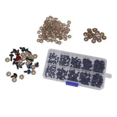 114pcs 6-12mm Plastic Safety Eyes for Teddy Bears Dolls Making DIY Supplies