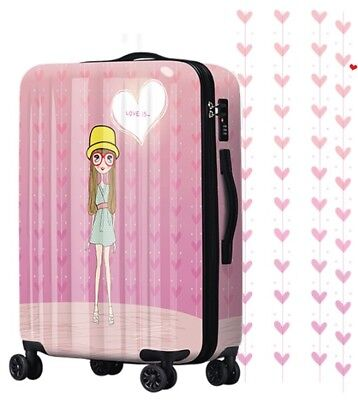 D869 Lock Universal Wheel Pink Cartoon Girl Travel Suitcase Luggage 24 Inches W