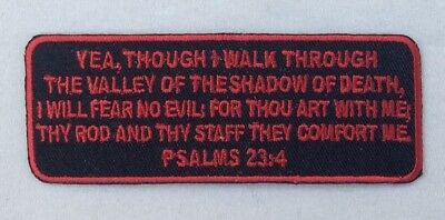 Psalms 23-4 Patch Iron On Christian Embroidered Bible Jesus Verse MC Red