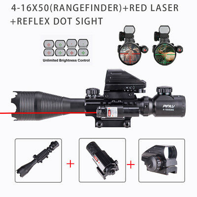 3in1 4-16x50 Illuminated Range Finder 4 Reticle Dot Sight Red laser Rifle Scope