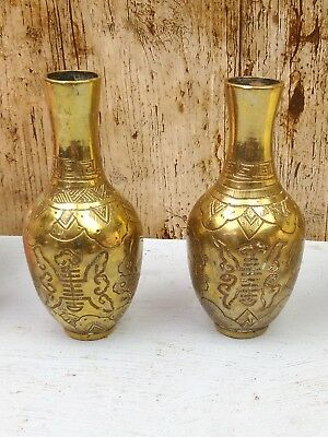 Pair Of Small 4.5 Inch Heavy Antique Oriental/asian Brass Vases