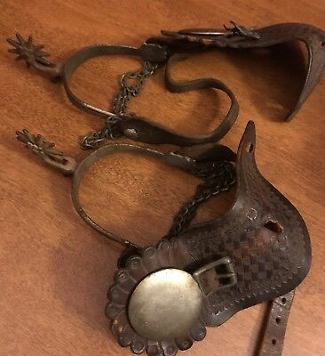 Antique Pair of August Buermann W Star Stamp Spurs.