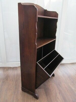 Slim Book Shelf unit  Carved Oak Music Magazine Rack Vintage Antique  Furniture