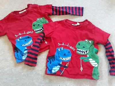 Matching Jo Jo Twin Boys Red Dinosaur Long Sleeved Tops 18 - 24 months