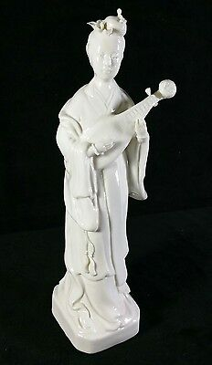 """Antique Chinese White Porcelain Blanc De Chine Female Fig w Lyre 10.5""""Tall EXC"""