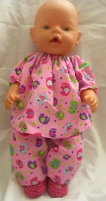"Dolls clothes Top trousers +shoes to fit Baby born 17"" 43cm doll."