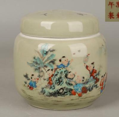 China old hand made famille rose porcelain Child Tea can guangxu mark c01