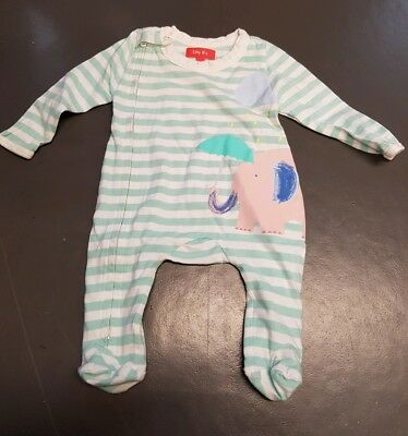 Olly B's green striped elephant design babygrow sleepsuit age 0-3 months
