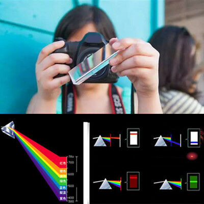 Crystal Optical Glass Triangular Prism For Teaching Light Spectrum Physics