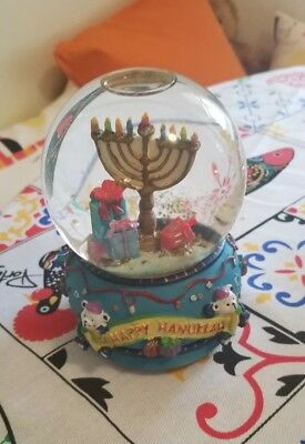 Amazing Chanukah Musical Water Snow Globe with Menorah and Dreidle