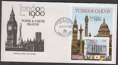 Turks & Caicos Islands 1980  London Stamp Exhibition Min Sheet First Day Cover