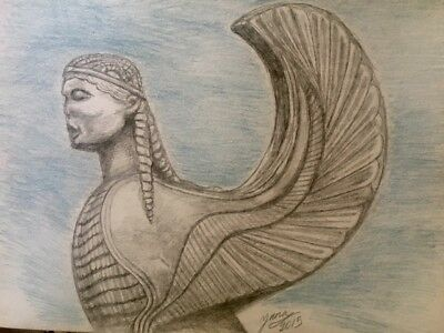 Mythological Creature, Sphynx, Ancient art drawing painting pencil on aquarelle