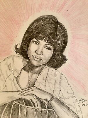 Aretha Franklin Drawing Painting , Queen Of Soul, Colored Pencil on Aquarelle