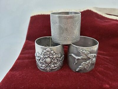 3 Old Victorian Napkin Rings Etched/repousse Silver plate.