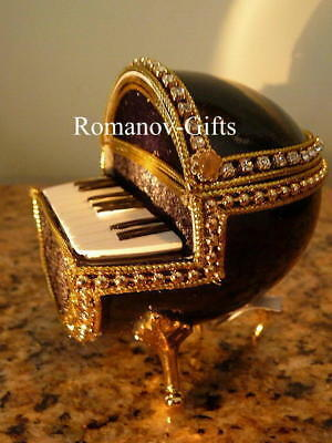 """Russian Imperial PIANO Musical Egg plays Beethoven's """"Fur Elise""""& Egg Necklace"""