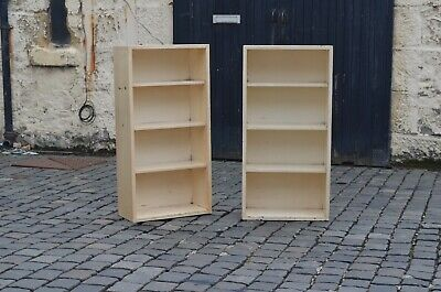 Pair Antique 1940s Wooden Cream Painted Matching Small Bookcases