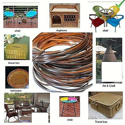 Coffee Gradient Flat Plastic Rattan Weaving Material Basketry Chair Caning 70 M