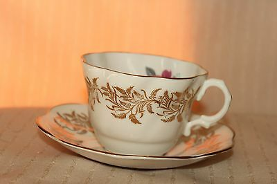 Rosina Bone China Teacup and Saucer: Red Rose with Ferns in Gold And Gold Trim