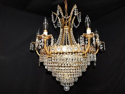 Antique large brass crystal Empire chandelier 9 lights,original crystals