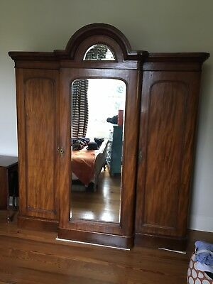 Large Victorian Mahogany Antique Ornate Triple Wardrobe