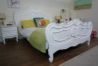 French Charroux King Size Bed In White - Shabby Chic Style Bed