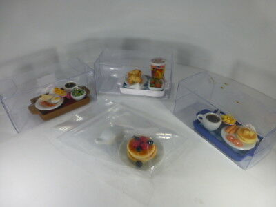 4 piece Lot Dollhouse Miniature Food Items on Ceramic Plates and Trays-OOAK