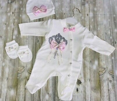 Baby Girls Crystal Babygrow Set Age 3-6 6-9 Months Pretty Romany Spanish