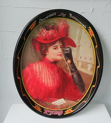 """Vtg 1980s Issue Coca Cola Metal Tray 1908 """"Lady in Red"""" """"Good to the Last Drop"""""""