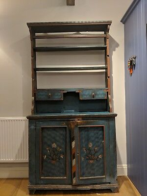 Stunning Antique Hungarian Dresser with Hand Painted Panels, Cupboard, Kitchen
