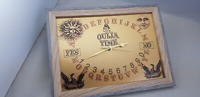 OUIJA BOARD Novelty Wall Clock, Brushed GOLD Metal with 2 Tone Effect Frame