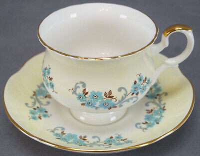 Crown Staffordshire Yellow With Blue Floral Scrollwork Tea Cup & Saucer C. 1930s